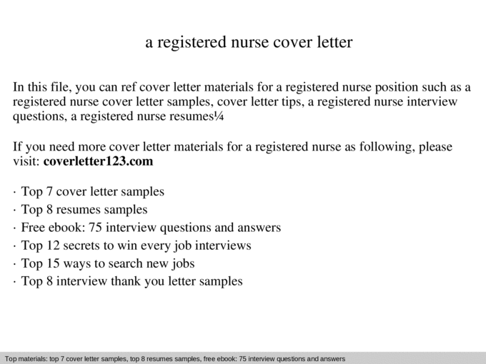 A Registered Nurse Cover Letter Ppt Powerpoint