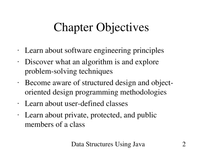 Data Structures Using Java1 Chapter 1 Software Engineering Principles And Java Classes Ppt Powerpoint