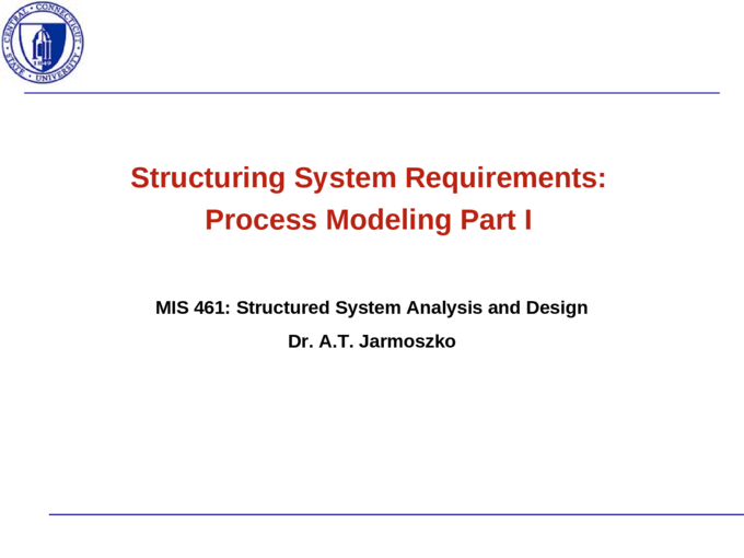 Structuring System Requirements Process Modeling Part I Mis 461 Structured System Analysis And Design Dr A T Jarmoszko Ppt Powerpoint